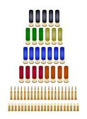 Set of Various Bullets on White Background