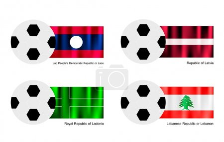Soccer Ball with Laos, Latvia, Ladonia and Lebanon Flag