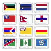 The Official National Flags on Metal Texture Plates