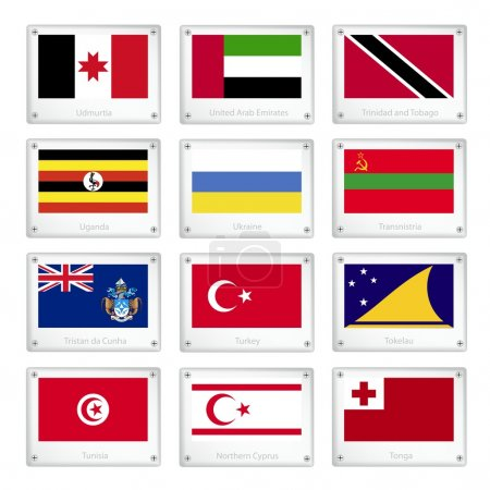 Group of Countries Flags on Metal Texture Plates