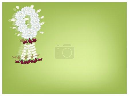 A White Jasmine Garland on Green Background