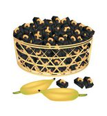 A Brown Basket of Sweet Banana Candies with Cashew