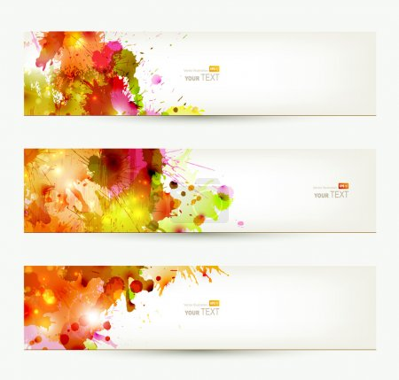 Illustration for Set of three headers. Abstract artistic Backgrounds of autumn colors - Royalty Free Image