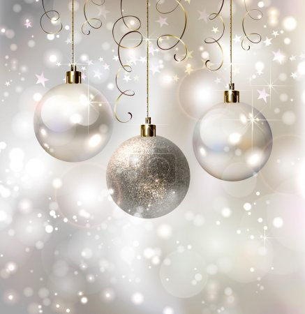 Light Christmas background with evening balls