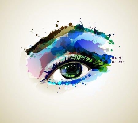 Beautiful fashion woman eye forming by blots...