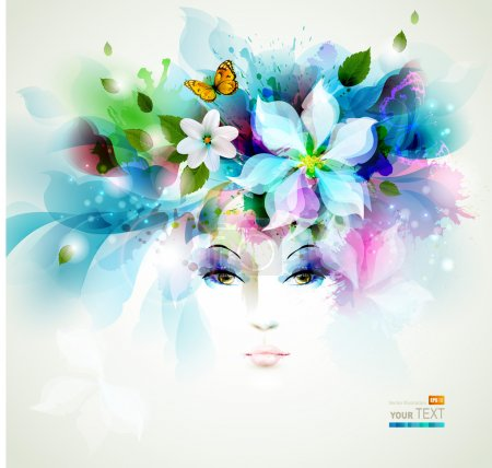 Illustration for Beautiful fashion woman face with natural elements, flowers and butterflies - Royalty Free Image