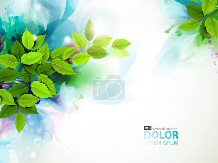 Illustration for Banner with fresh green leaves - Royalty Free Image