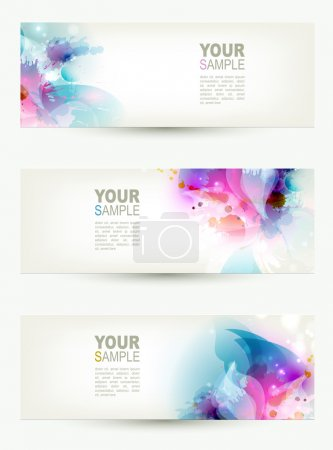 Photo for Set of three banners, abstract headers with blue and pink blots - Royalty Free Image