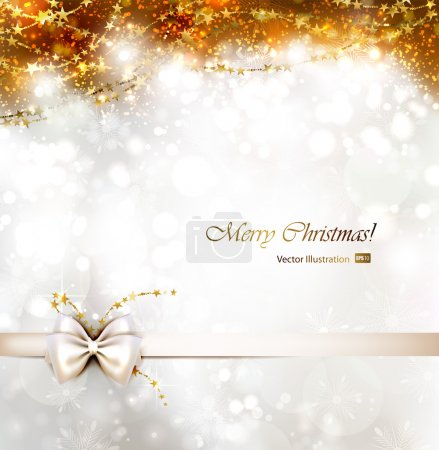 Illustration for Christmas background with bow. - Royalty Free Image