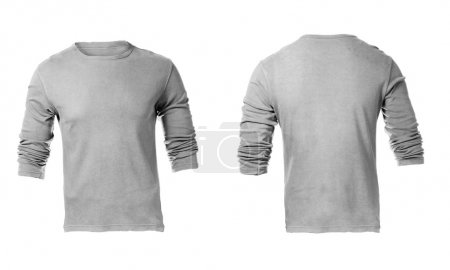 Men's Blank Grey Long Sleeved Shirt Template