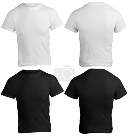 Photo for Men's Blank Black and White Shirt, Front and Back Design Template - Royalty Free Image