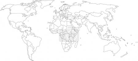 Illustration for Vector illustration of world map, white color with black outline, isolated - Royalty Free Image