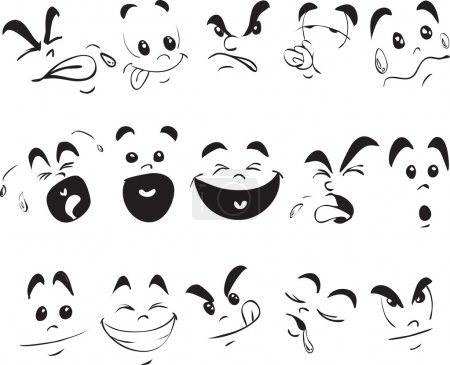 Illustration for Doodle illustration of a child expressions in cartoon style - Royalty Free Image