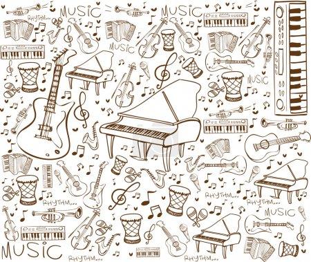 Illustration pour Illustration vectorielle d'instruments de musique en style doodle, marron sur blanc - image libre de droit