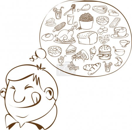 Illustration for Vector illustration of a fat man dreaming for food in doodle style - Royalty Free Image