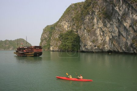 Tourists kayaking on Halong Bay, Vietnam