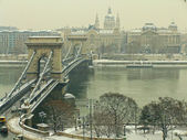 Chain Bridge and Parlament building in winter, Budapest, Hungury