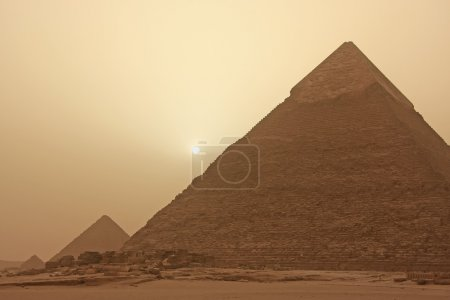 Pyramid of Khafre in a sand storm, Cairo, Egypt