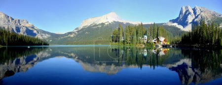 Photo for Panoramic view of mountains reflected in Emerald Lake, Yoho National Park, British Columbia, Canada - Royalty Free Image