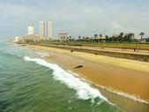 Colombo skyline and Galle Face beach, Sri Lanka