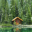 Wooden cabin at Lake O'Hara, Yoho National Park, B...