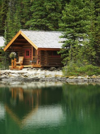 Wooden cabin at Lake O'Hara, Yoho National Park, Canada