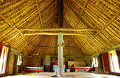 Interior of traditional house, Navala village, Viti Levu, Fiji
