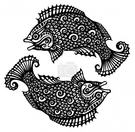 Illustration for Pisces tattoo - Royalty Free Image