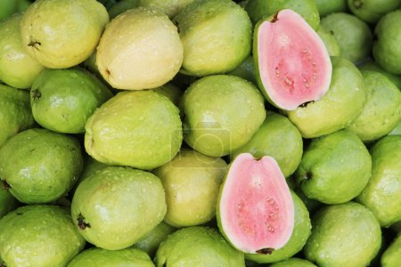 Fresh guavas with pink flesh