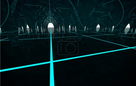 Abstract future modern column hall with lighting s...