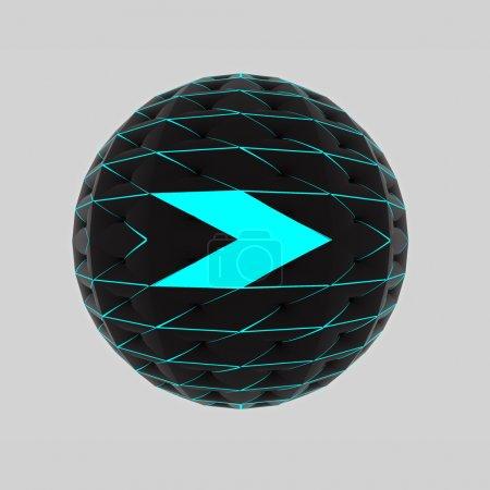 Photo pour Flèche droite isolée dessinant sur la sphère disco comme bouton web moderne à la mode - image libre de droit