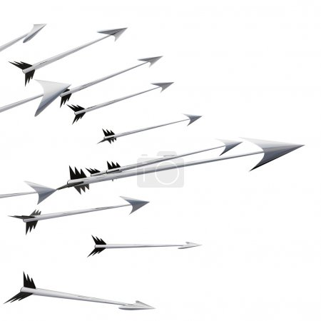 Flying metallic darts and arrows on left side illustration