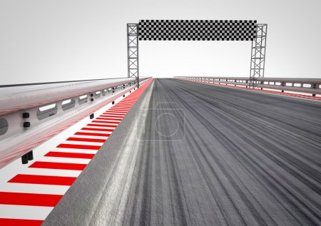 Photo for Race circuit finish line perspective illustration - Royalty Free Image