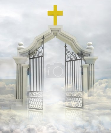 Semi opened entrance to Gods paradise in sky