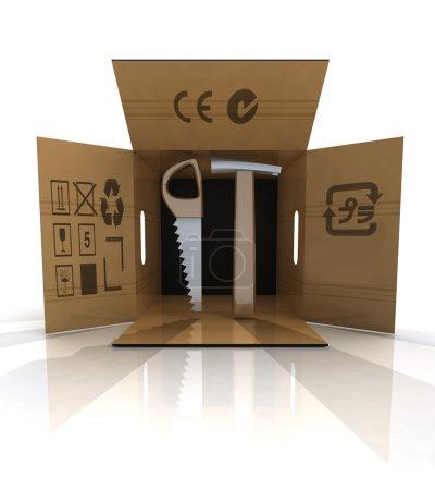 Photo pour Immeuble neuf livraison outils en illustration de boîte de carton - image libre de droit