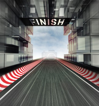 finish panel above racetrack in modern city space