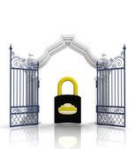 Otevřít barokní brána s visacím zámkem
