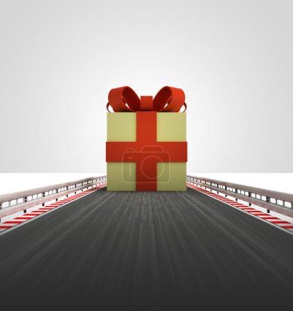 Christmas gift on motorway leading to xmas celebration