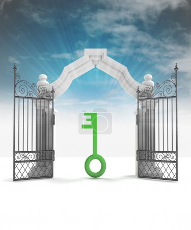 Photo for Divine key way to heavenly gate with sky flare illustration - Royalty Free Image