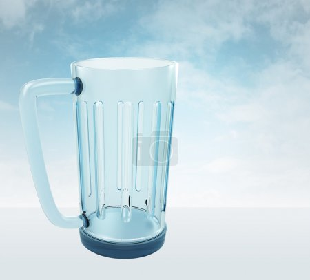 one empty glass for beverage with sky render