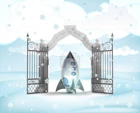 Photo pour Entrée de Noël avec jouet vaisseau spatial en illustration neige hiver - image libre de droit