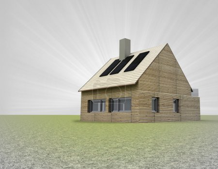 wooden house with several solar panels on the roof and flare