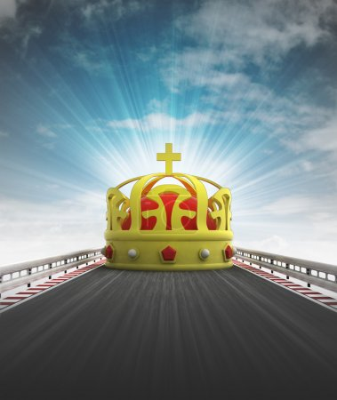 Royal crown on motorway leading to castle with sky flare