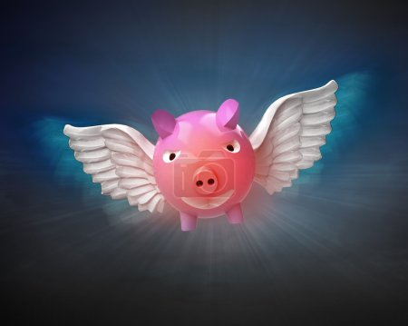 Happy pig with angelic wings