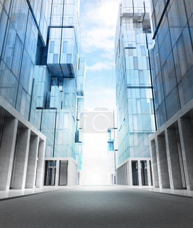 Photo for Empty new modern business city street perspective view illustration - Royalty Free Image