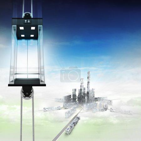 Empty sky space elevator concept above city illust...