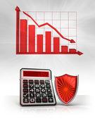 červený štít s negativní obchodní výpočty a graf