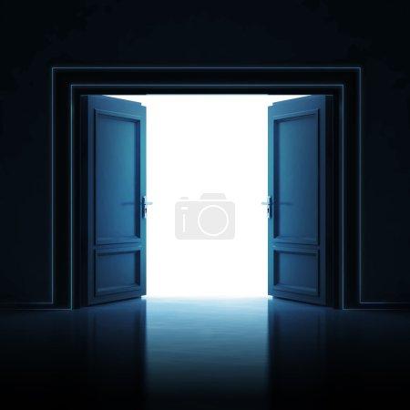 double door opened in dark to light room 3D