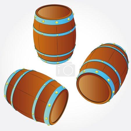 Several barrels of alcohol drink storage vector illustration