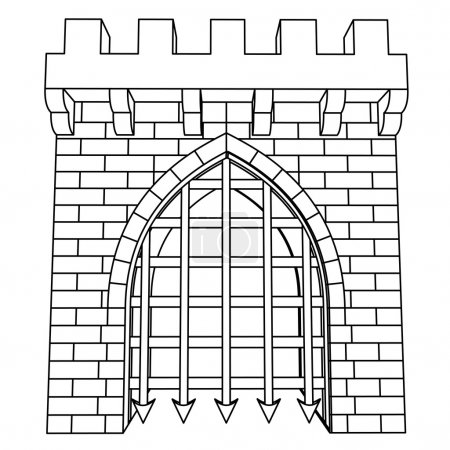 Isolated medieval gate vector drawing or coloring
